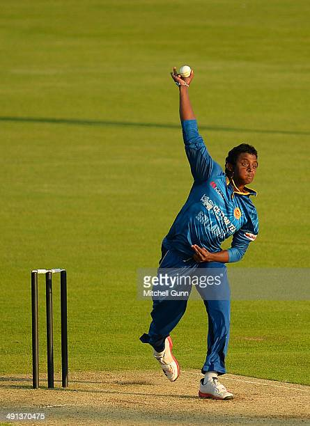 Ajantha Mendis of Sri Lanka bowling during the one day match between The Kent Spitfires and Sri Lanka played at the St Lawrence Ground on May 16 2014...