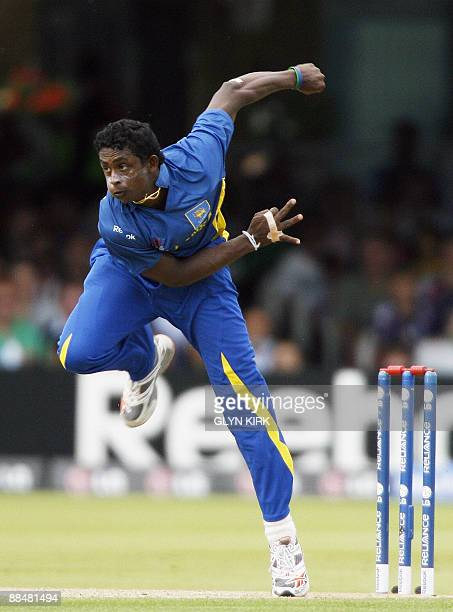 Ajantha Mendis of Sri Lanka bowls against Ireland during the Super 8 stage of the ICC Twenty20 Cricket World Cup at Lords in London on June 14 2009...