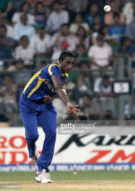 Ajantha Mendis of Sri Lanka bowls during the Group A ICC World Cup match between New Zealand and Sri Lanka at Wankhede Stadium on March 18 2011 in...
