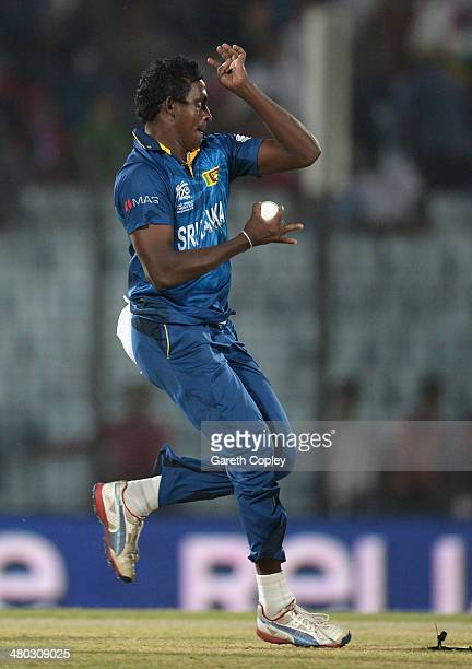 Ajantha Mendis of Sri Lanka bowls during the ICC World Twenty20 Bangladesh 2014 Group 1 match between Sri Lanka and the Netherlands at Zahur Ahmed...