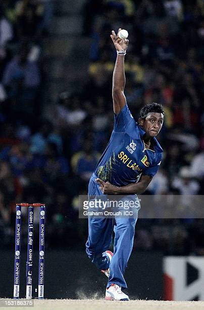 Ajantha Mendis of Sri Lanka bowls during the Super Eights Group 1 match between England and Sri Lanka at Pallekele Cricket Stadium on October 1 2012...