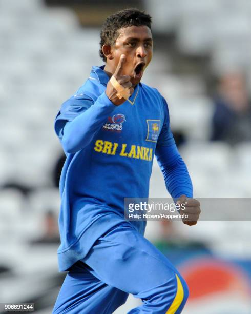 Ajantha Mendis of Sri Lanka celebrates after taking his third Australian wicket during the ICC World Twenty20 group match between Australia and Sri...