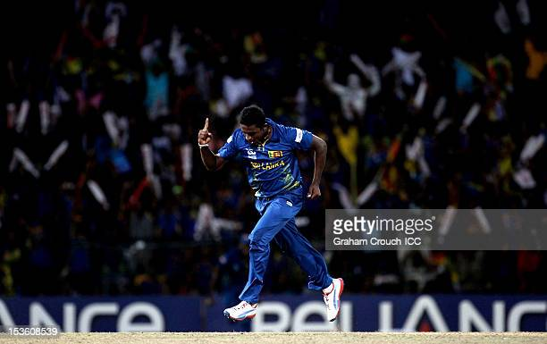 Ajantha Mendis of Sri Lanka celebrates after trapping Chris Gayle of West Indies LBW during the ICC World Twenty20 2012 Final between Sri Lanka and...