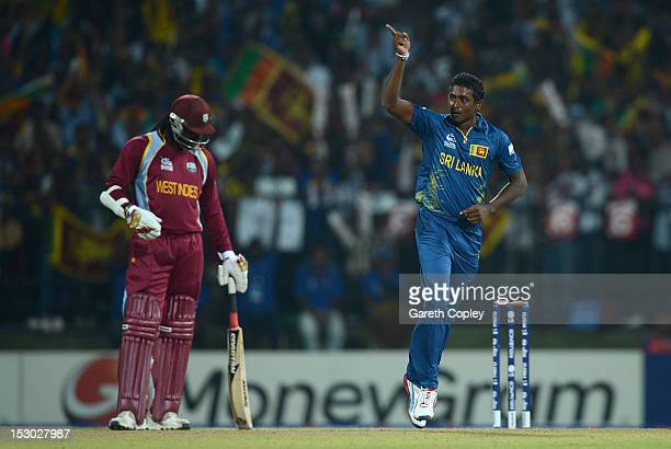 Ajantha Mendis of Sri Lanka celebrates dismissing Johnson Charles of the West Indies during the ICC World Twenty20 2012 Super Eights Group 1 match...