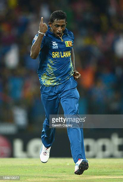 Ajantha Mendis of Sri Lanka celebrates dismissing Kieron Pollard of the West Indies during the ICC World Twenty20 2012 Final between Sri Lanka and...