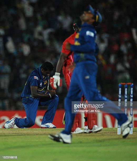 Ajantha Mendis of Sri Lanka celebrates taking the wicket of Prosper Utseya of Zimbabwe during the ICC World Twenty20 Cup Group C match between Sri...