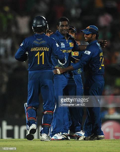 Ajantha Mendis of Sri Lanka celebrates taking the wicket of Vusi Sibanda of Zimbabwe during the ICC World Twenty20 Cup Group C match between Sri...
