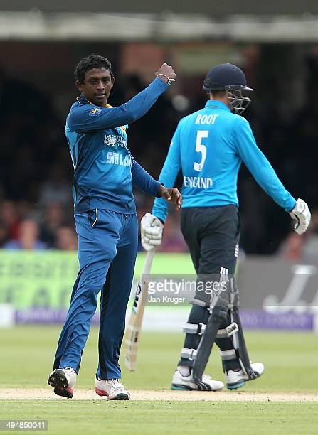 Ajantha Mendis of Sri Lanka celebrates the wicket of Gary Balance of England during the 4th Royal London One Day International match between England...