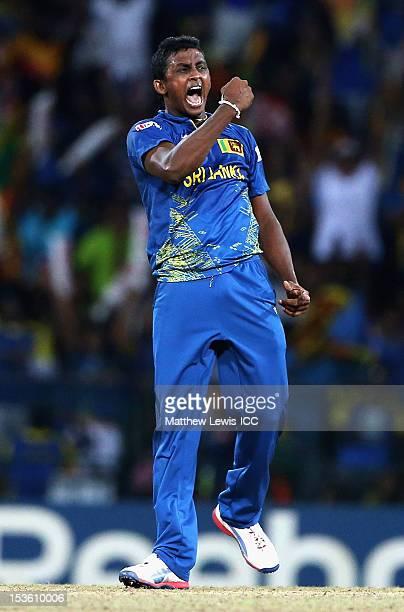 Ajantha Mendis of Sri Lanka celebratesbowling Dwayne Bravo of the West Indies for LBW during the ICC World Twenty20 2012 Final between Sri Lanka and...