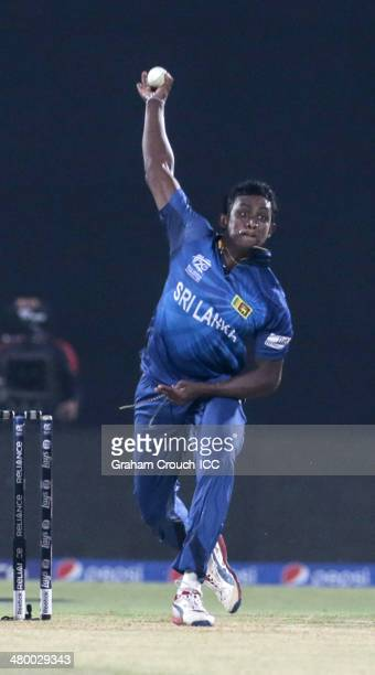 Ajantha Mendis of Sri Lanka during the Sri Lanka v South Africa match at the ICC World Twenty20 Bangladesh 2014 played at Zahur Ahmed Chowdhury...