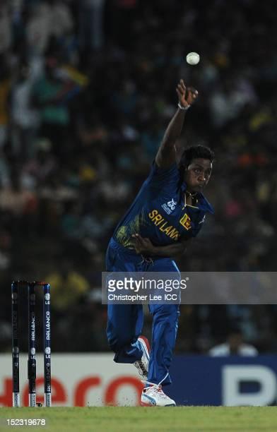 Ajantha Mendis of Sri Lanka in action during the ICC World Twenty20 Cup Group C match between Sri Lanka and Zimbabwe at Mahinda Rajapaksa...