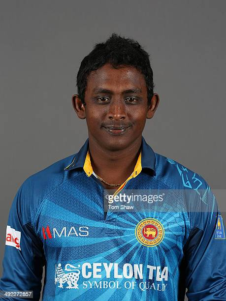 Ajantha Mendis of Sri Lanka poses for a headshot during the Sri Lanka nets session at The Kia Oval on May 19 2014 in London England