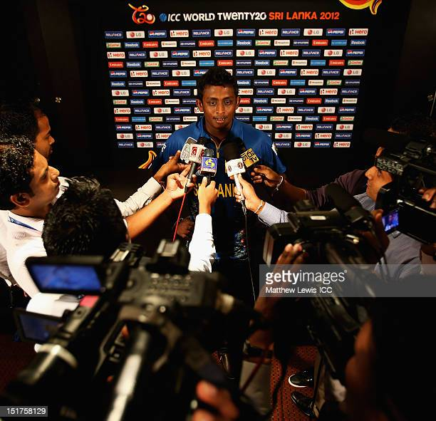 Ajantha Mendis of Sri Lanka talks to media during the Sri Lanka Open Media session ahead of the ICC T20 World Cup at the Cinnamon Grand Hotel on...