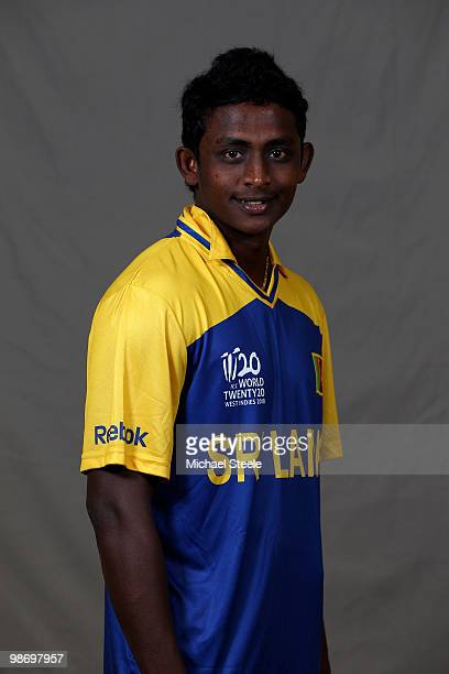 Ajantha Mendis of the Sri Lanka T20 ICC World Cup squad on April 27 2010 in Bridgetown Barbados