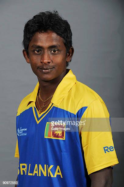 Ajantha Mendis poses during the ICC Champions photocall session of Sri Lanka at Sandton Sun on September 19 2009 in Sandton South Africa