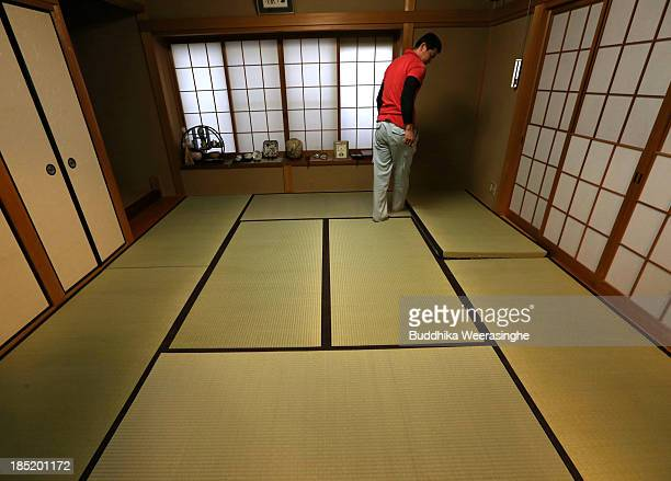 AJapanese professional Tatami mat manufacturer sets Tatami at traditional house on October 18 2013 in Kyoto Japan Tatami mat is a type of flooring...