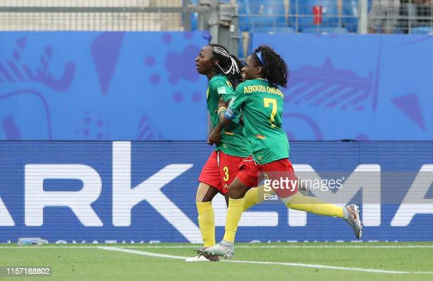 Ajara Nchout of Cameroon celebrates after scoring her team's second goal during the 2019 FIFA Women's World Cup France group E match between Cameroon...