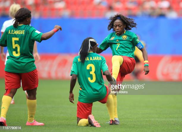 Ajara Nchout of Cameroon celebrates with teammate Gabrielle Aboudi Onguene after scoring a goal which is then disallowed following a VAR review...