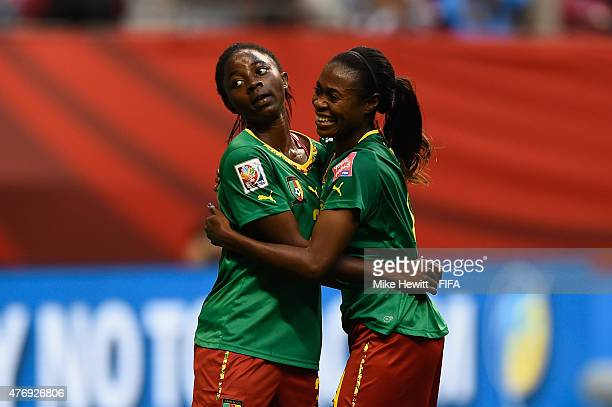 Ajara Nchout of Cameroon celebrates with Yvonne Leukom after scoring a last minute goal during the FIFA Women's World Cup 2015 Group C match between...
