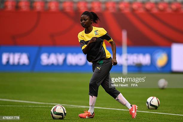 Ajara Nchout of Cameroon in action during a Cameroon Press Conference Training Session at the FIFA Women's World Cup 2015 at the BC Place Stadium on...