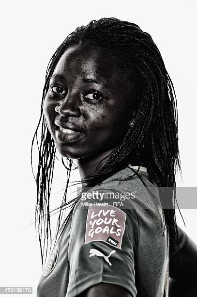 Ajara Nchout of Cameroon posse for a portrait during the official Cameroon portrait session ahead of the FIFA Women's World Cup 2015 at the Sheraton...