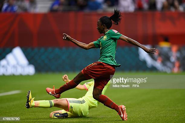 Ajara Nchout of Cameroon pulls a late goal back during the FIFA Women's World Cup 2015 Group C match between Japan and Cameroon at BC Place Stadium...