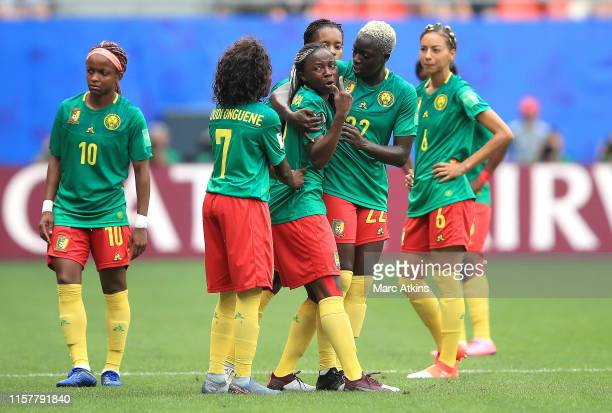 Ajara Nchout of Cameroon reacts after her goal is disallowed following a VAR check during the 2019 FIFA Women's World Cup France Round Of 16 match...