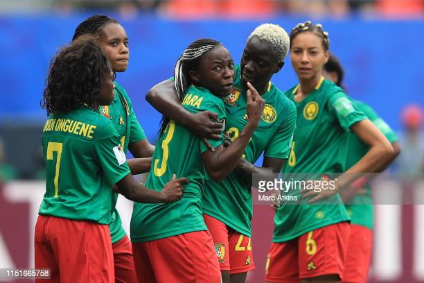 Ajara Nchout of Cameroon reacts after her goal is disallowed via a VAR decision during the 2019 FIFA Women's World Cup France Round Of 16 match...