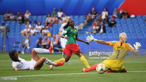 Ajara Nchout of Cameroon scores her team's first goal during the 2019 FIFA Women's World Cup France group E match between Cameroon and New Zealand at...