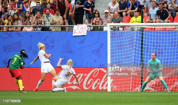 Ajara Nchout of Cameroon scores her team's first goal however it is disallowed following a VAR review during the 2019 FIFA Women's World Cup France...