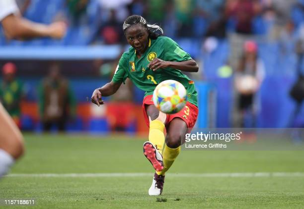 Ajara Nchout of Cameroon scores her team's second goal during the 2019 FIFA Women's World Cup France group E match between Cameroon and New Zealand...
