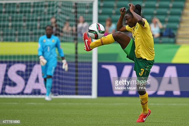 Ajara Nchout of Cameroon settles the ball during the Women's World Cup 2015 Group C match against Switzerland at Commonwealth Stadium on June 16 2015...