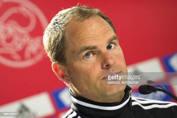 Ajax Amsterdam's coach Frank de Boer gives a press conference in Amsterdam on April 12 2013 Ajax is preparing for the Dutch eredivisie match against...