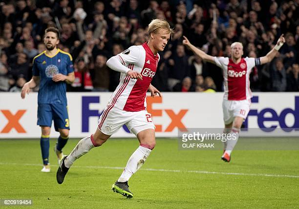 Ajax Amsterdam's Kasper Dolberg celebrates after scoring during the UEFA Europa League Group G football match between AFC Ajax and RC Celta de Vigo...