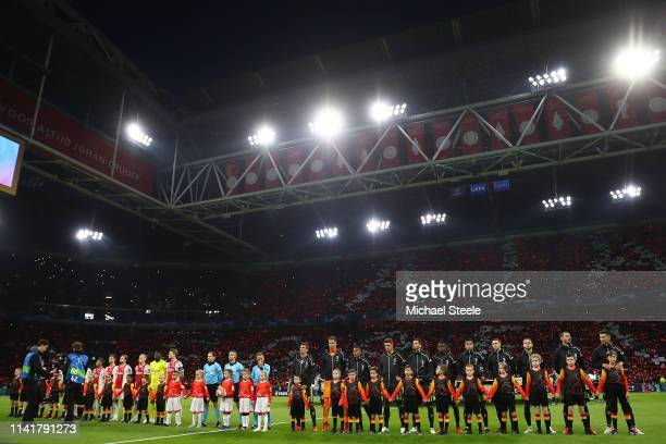 Ajax and Juventus line up ahead of the UEFA Champions League Quarter Final first leg match between Ajax and Juventus at Johan Cruyff Arena on April...