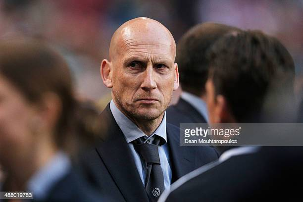 Ajax Assistant Coache Jaap Stam looks on after the Eredivisie match between Ajax Amsterdam and NEC Nijmegen at Amsterdam Arena on May 3 2014 in...