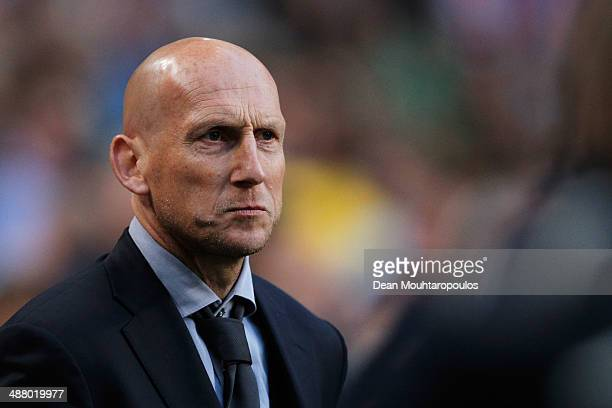 Ajax Assistant Coache, Jaap Stam looks on after the Eredivisie match between Ajax Amsterdam and NEC Nijmegen at Amsterdam Arena on May 3, 2014 in...