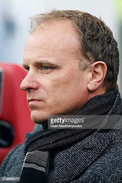 Ajax assistant manager / coach Dennis Bergkamp looks on prior to the Eredivisie match between PSV Eindhoven and Ajax Amsterdam held at Philips...
