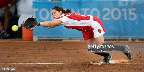 Ajax Canada July 25 2015 Canada's Natalie Wideman can't quite catch up to a throw from home plate off a hit by Puerto Rico's Nicole Osterman in the...