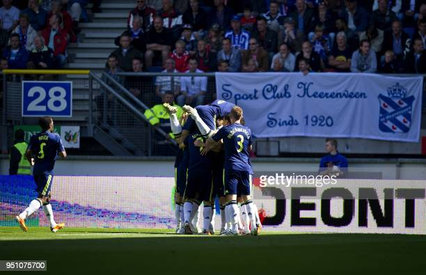 Ajax celebrate the 21 of Christian Eriksen during the Dutch Eredivisie football match against Heerenveen in The Abe Lenstra Stadium in Heerenveen on...