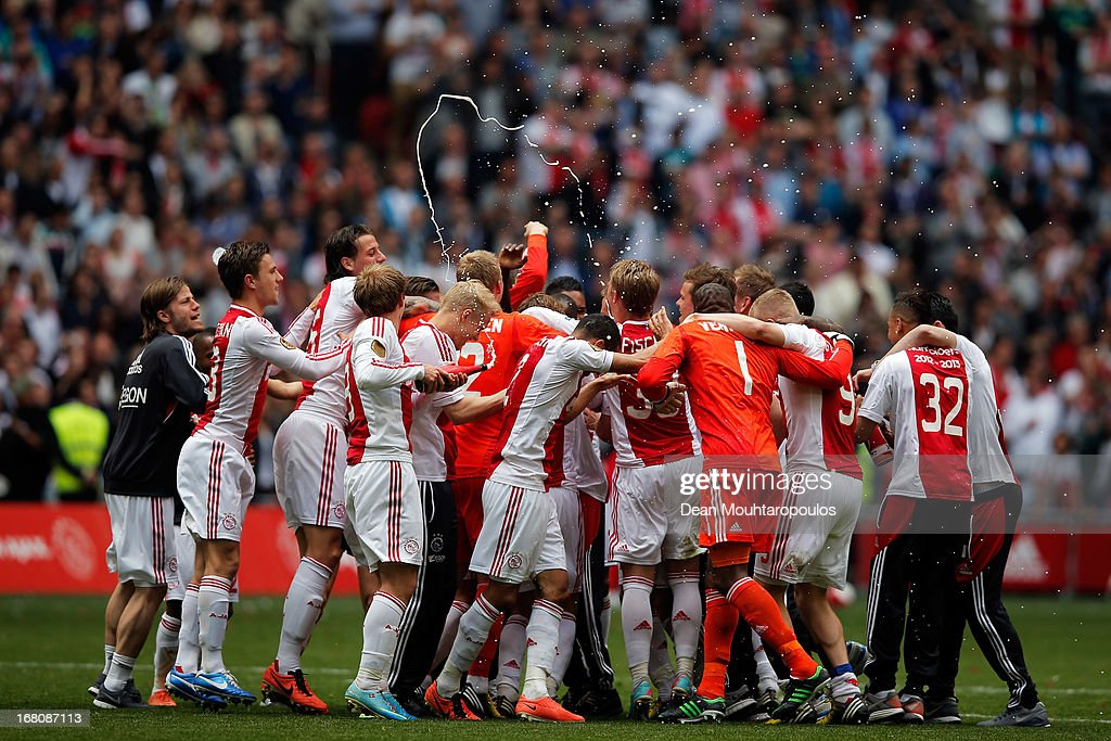 Ajax celebrate winning the Eredivisie Championship trophy after the match between Ajax and Willem II Tilburg at Amsterdam Arena on May 5, 2013 in Amsterdam, Netherlands.