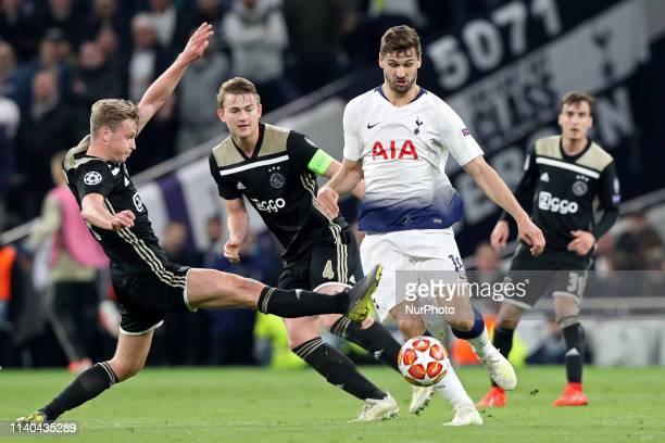 Ajax defender Matthijs de Ligt blocks a cross from Tottenham forward Fernando Llorente during the UEFA Champions League match between Tottenham...