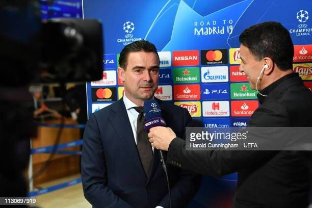 Ajax Director of Football Marc Overmars is interviewed following the UEFA Champions League 2018/19 Quarterfinal Semifinal and Final draws at the UEFA...