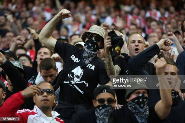Ajax fans are seen during the UEFA Europa League Final match between Ajax and Manchester United at Friends Arena on May 24 2017 in Stockholm Sweden