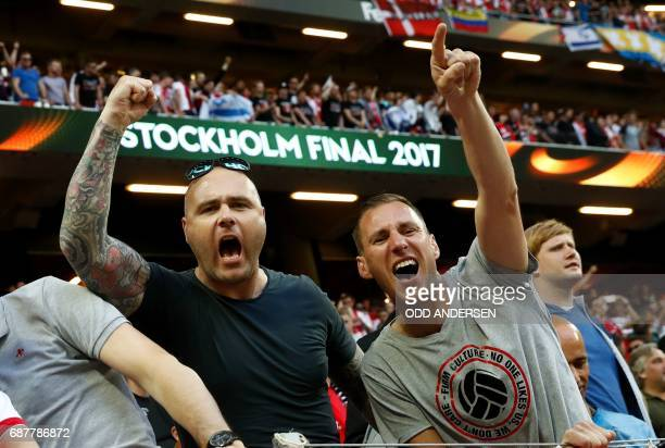 TOPSHOT Ajax fans cheer prior to the UEFA Europa League final football match Ajax Amsterdam v Manchester United on May 24 2017 at the Friends Arena...