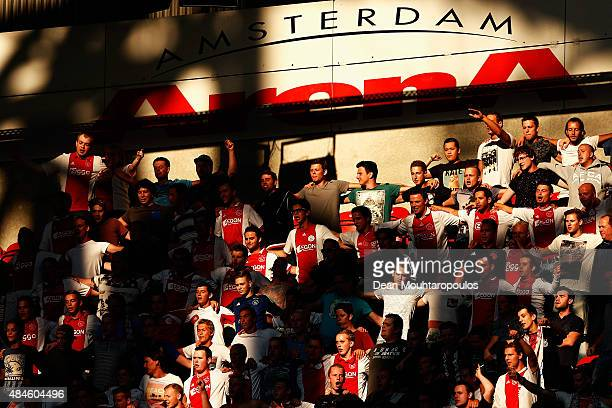 Ajax fans show their support during the UEFA Europa League play off round 1st leg match between Ajax Amsterdam and FK Baumit Jablonec on August 20...