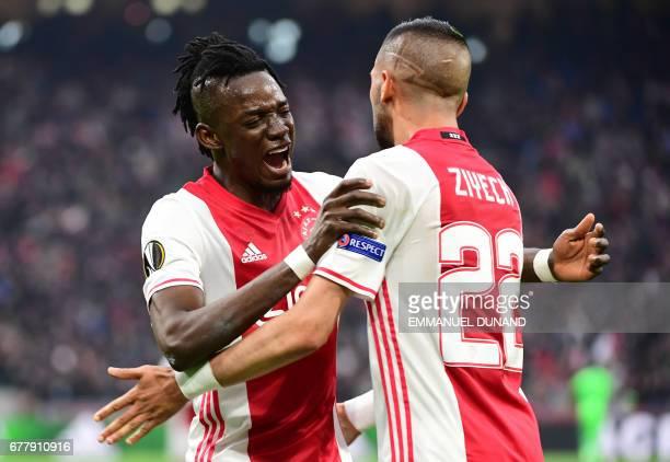Ajax forward Bertrand Traoré reacts after fourth goal during UEFA Europa League semifinal first leg Ajax Amsterdam v Olympique Lyonnais on May 3 2017...