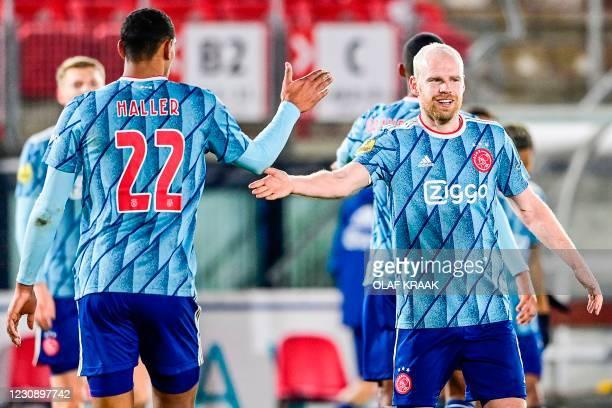 Ajax' French forward Sebastien Haller and Ajax' Dutch midfielder Davy Klaassen celebrate a goal that was later disallowed during the Dutch Eredivisie...