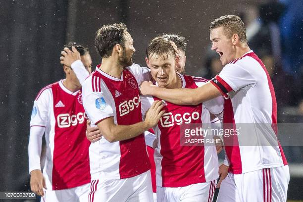 Ajax' Frenkie de Jong celebrates with teammates after scoring a goal during the Dutch Eredivisie football match between PEC Zwolle and Ajax Amsterdam...