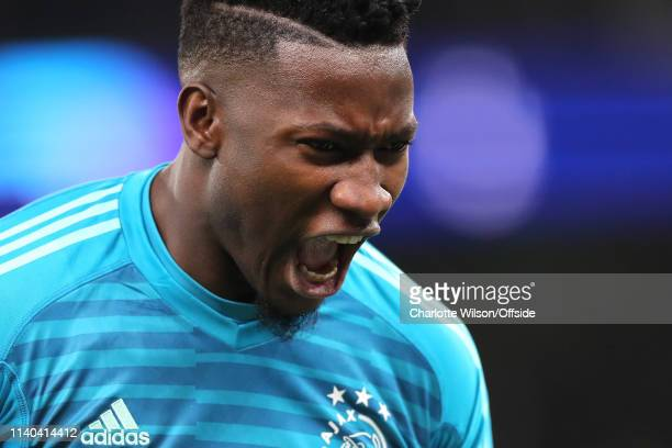 Ajax goalkeeper Andre Onana celebrates their 1 nil win during the UEFA Champions League Semi Final first leg match between Tottenham Hotspur and Ajax...